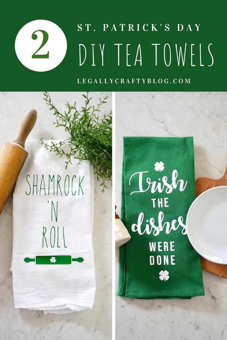 Shamrock N Roll Two Diy St Paddy S Day Flour Sack Towels Legally Crafty Blog