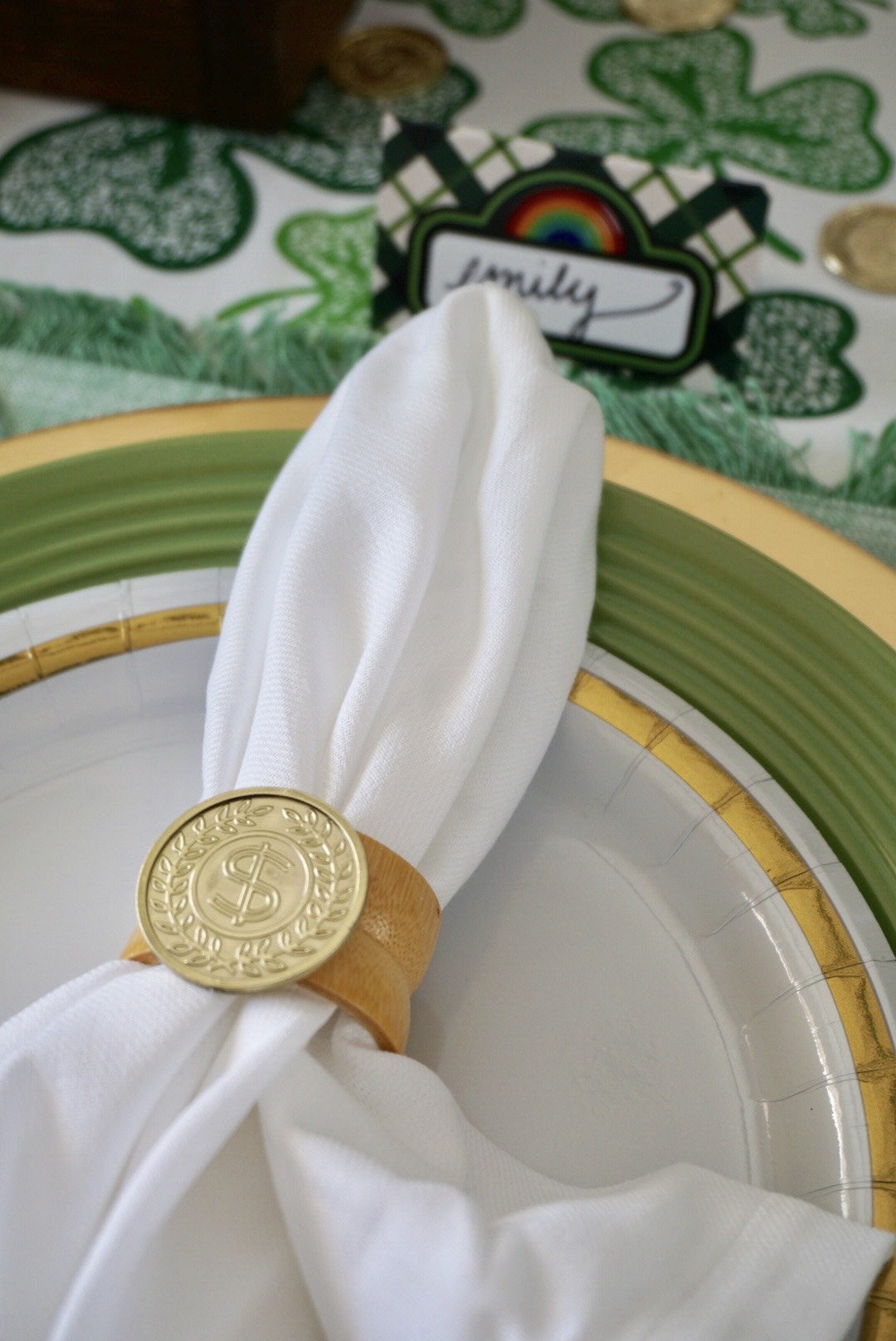 DIY gold coin napkin rings