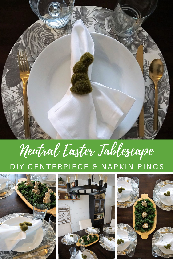 Take a break from the bright Easter colors with neutral tablescape ideas. Make your own moss bunny napkin rings and a DIY centerpiece to wow your guests. Click here for instructions and supply list! #eastertable #easterdiy #eastercrafts #diyeasterdecor #diynapkinrings #diycenterpiece