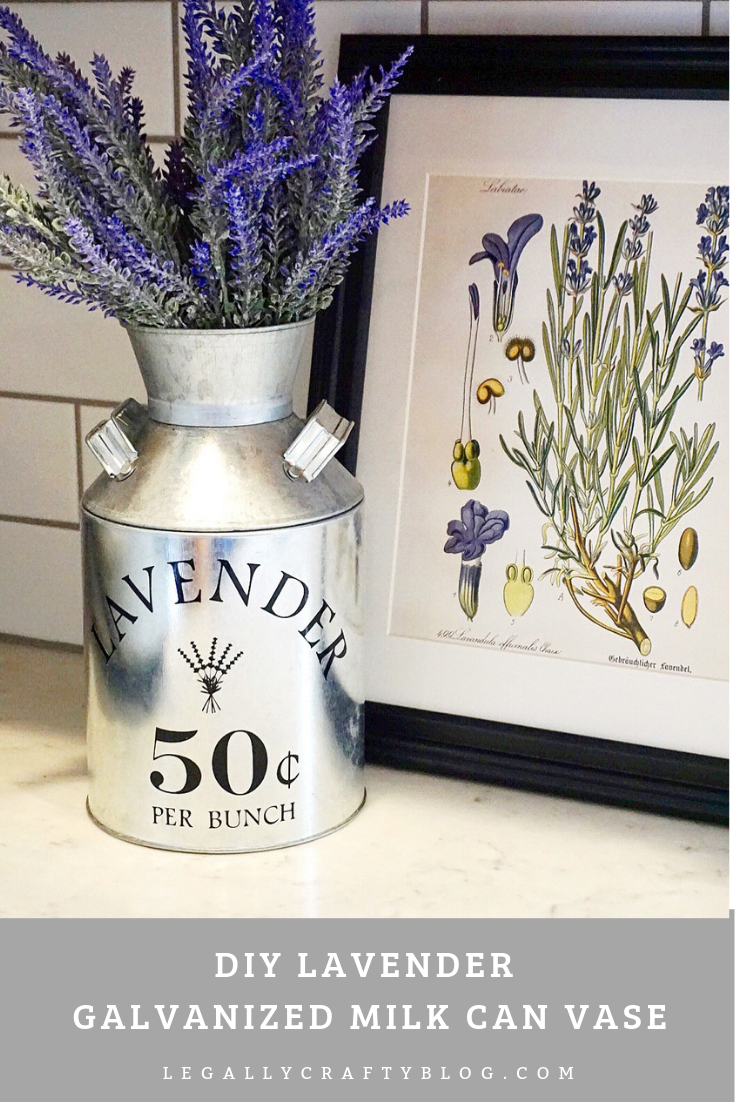 Create this beautiful DIY farmhouse inspired galvanized metal milk jug for Spring decor! Click here to find the supply list and a link to the Cricut cut file. #springdecor #lavender #galvanizedmilkjug #cricutcrafts #cricutmade #diyspringdecor #springcrafts
