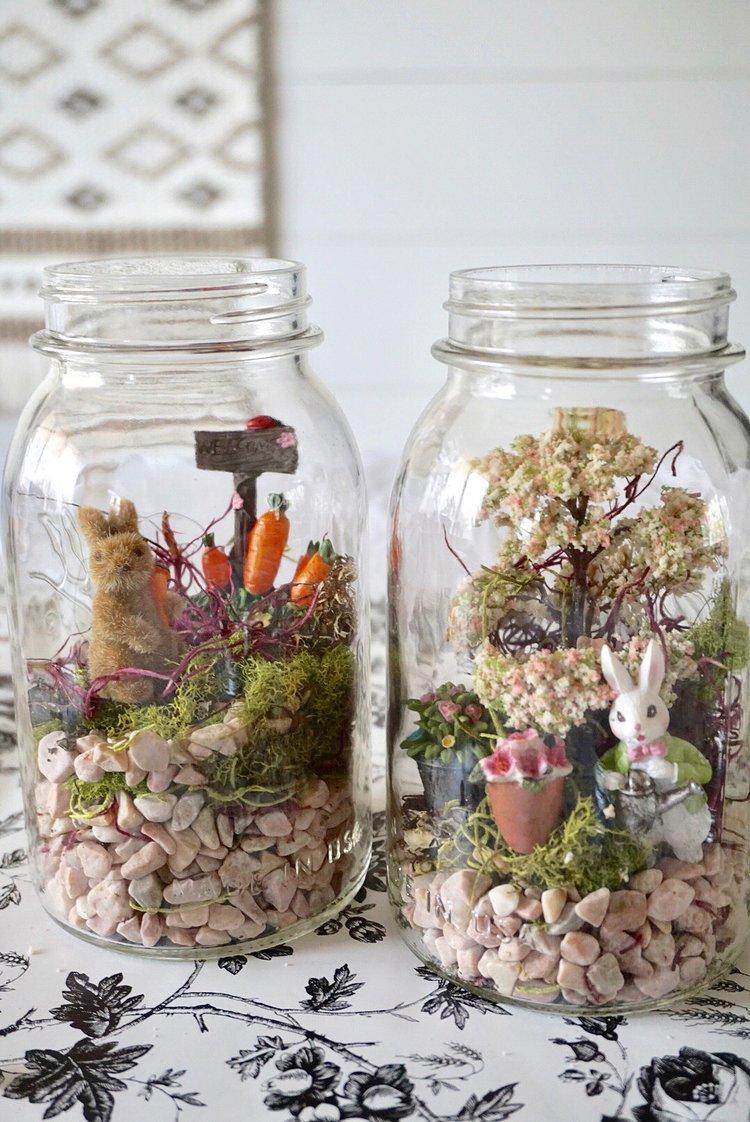 DIY Easter themed fairy garden terrariums in Ball mason jars