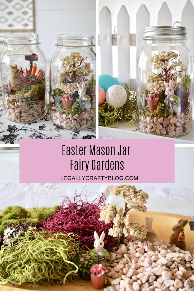 Make your own Easter Mason Jar Fairy Gardens with Ball Mason Jars! Make one as a hostess gift and keep one for yourself. Click here for a supply list that can all be purchased as your local Michaels! #eastercrafts #easterdiy #diyfairygarden #fairygarden #easterdecor #masonjarcrafts #masonjardiy #ballcanningpartner #sponsored