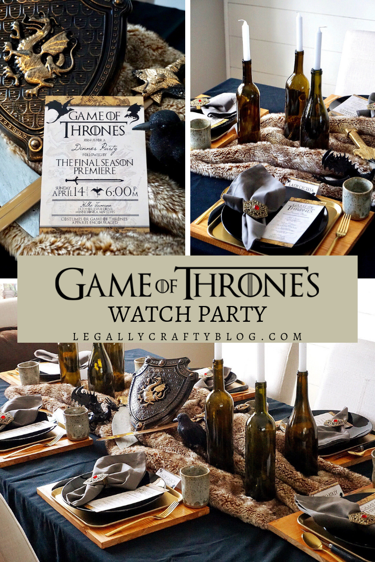 Thow a Game of Thrones watch party with this Westeros approved dinner table. Click her for budget-friendly decor ideas, easy DIYs, and themed menu ideas that would impress Jon Snow. #gameofthrones #gameofthroneswatchparty #gameofthronesviewingparty #gotfan #tablescape #partythemes