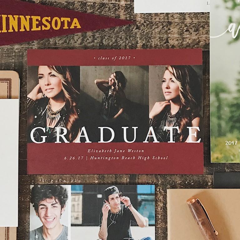 Maroon Minnesota inspired graduation invite