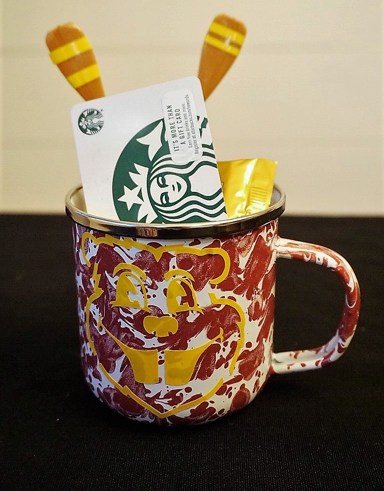 Goldy Gopher mug with Starbucks gift card makes a great graduation gift.