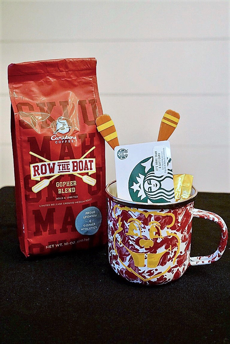 Goldy Gopher coffee mug with Row the Boat coffee