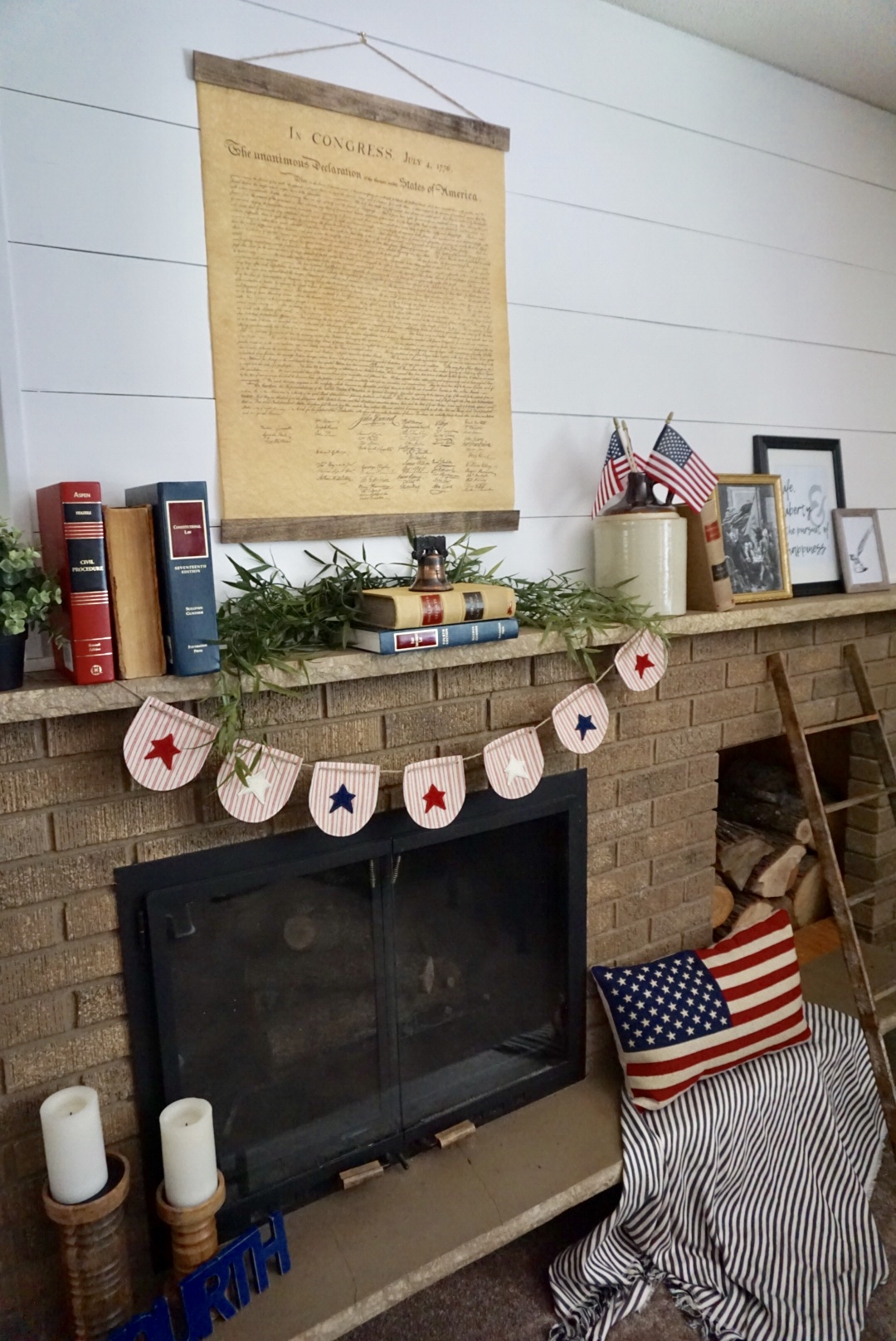 4th of July mantel with a DIY Declaration of Independence poster hanger.