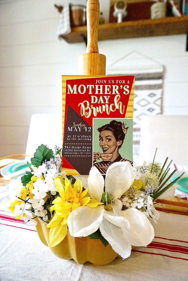 Retro themed Mother's Day brunch invitation