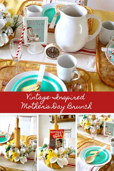 Create a special table for Mother's Day brunch with this fun vintage kitchen inspired theme. Click here for table setting tips and DIY tutorials to make the perfect Mother's Day Centerpiece and coordinating favors. Best part? A ton of it is made with dollar store and thrift store supplies! #mothersdaybrunch #mothersday #mothersdaydecor #mothersdaydiy #momsday