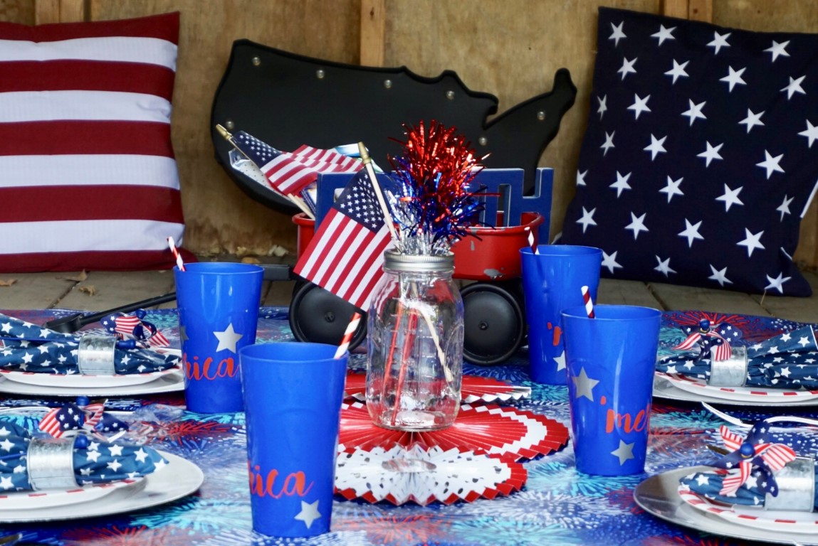 Use your Cricut or stickers to dress up cheap plastic cups to make your 4th of July drinkware more festive!