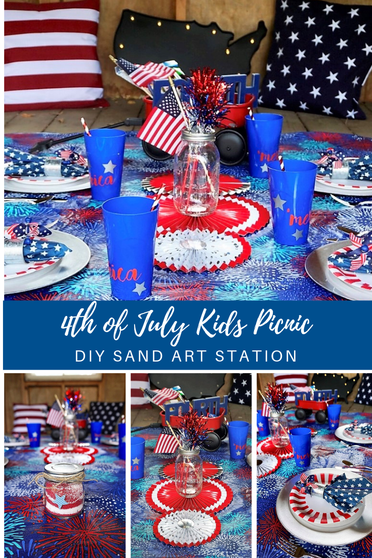 Keep the kids entertained at your 4th of July BBQ with this fun patriotic picnic! Stock up on fun kids activities and learn how to setup a DIY sand art station with supplies mostly from the dollar store! #4thofJuly #picnic #summerentertaining #4thofjulykidscrafts #kidstable #4thofjuly #redwhiteandblue