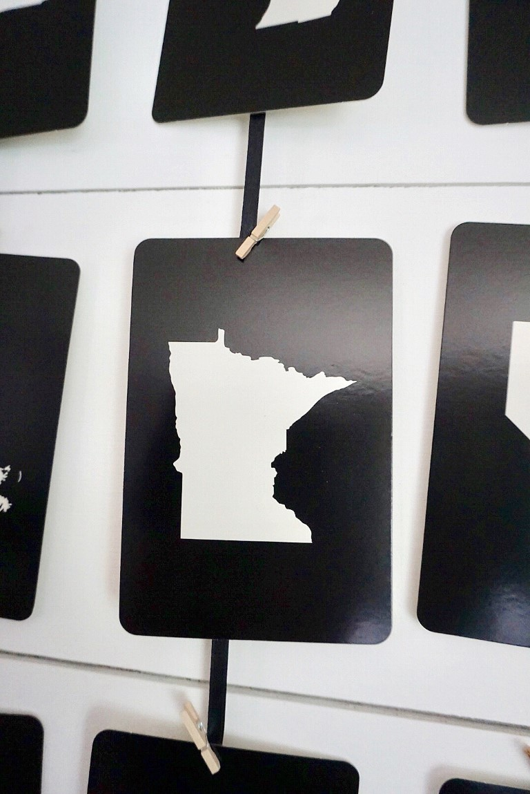 Put your home state in the middle of your 50 state wall art.