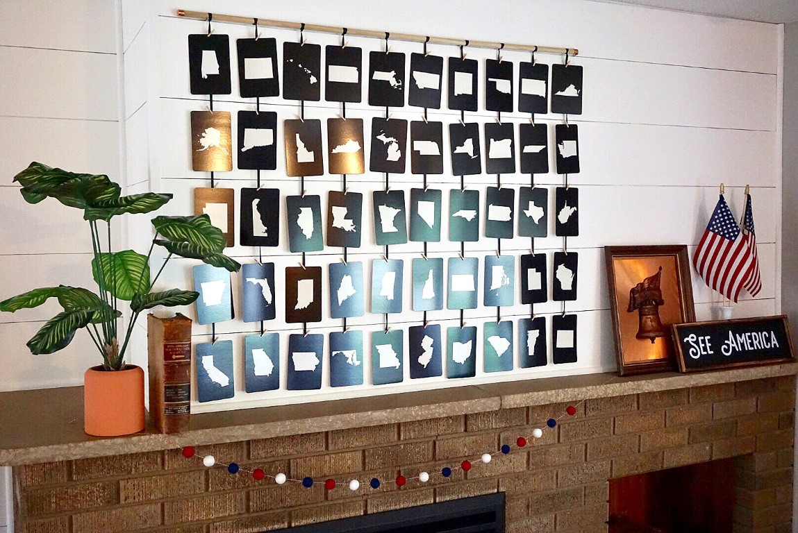 DIY 50 State Wall Art makes the perfect display for a 4th of July mantel.