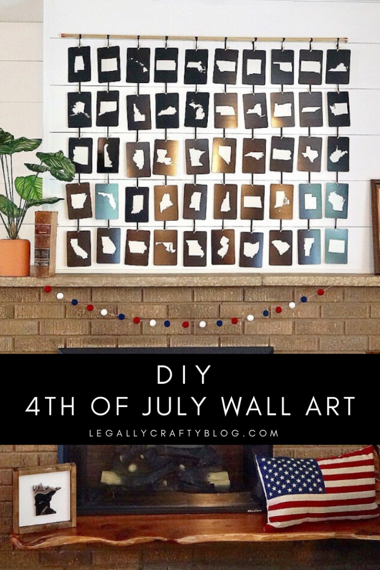 Create your own 4th of July wall art made of 50 state flashcards and just a few additional supplies. Click here for the tutorial and supply list! #4thofjuly #4thofjulycrafts #4thofjulydecor #manteldecorations #holidaymantels