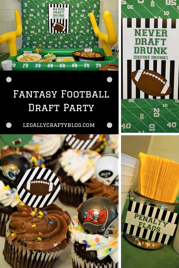 Throw the ultimate fantasy football draft party with easy football snack favorites, party printables, and a fun decorated table. Click here to grab all of the fun ideas! #fantasyfootball #fantasyfootballdraft  #draftday #footballparty #footballtheme #tailgate