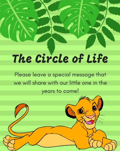 Free Lion King Circle of Life guestbook printable sign