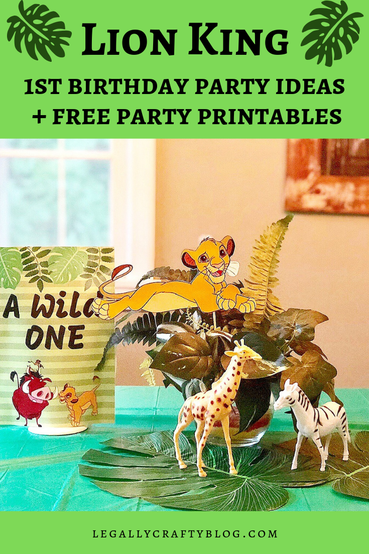 "Lion King is always a fun time, especially when your little one ""Just Can't Wait to be One!"" Click here for budget-friendly Lion King themed party decoration ideas including a tutorial for DIY dollar store centerpieces. Download free party printables as well! #lionking #lionkingparty #1stbirthday #firstbirthday #diyparty #diypartydecorations #dollarstorediy"