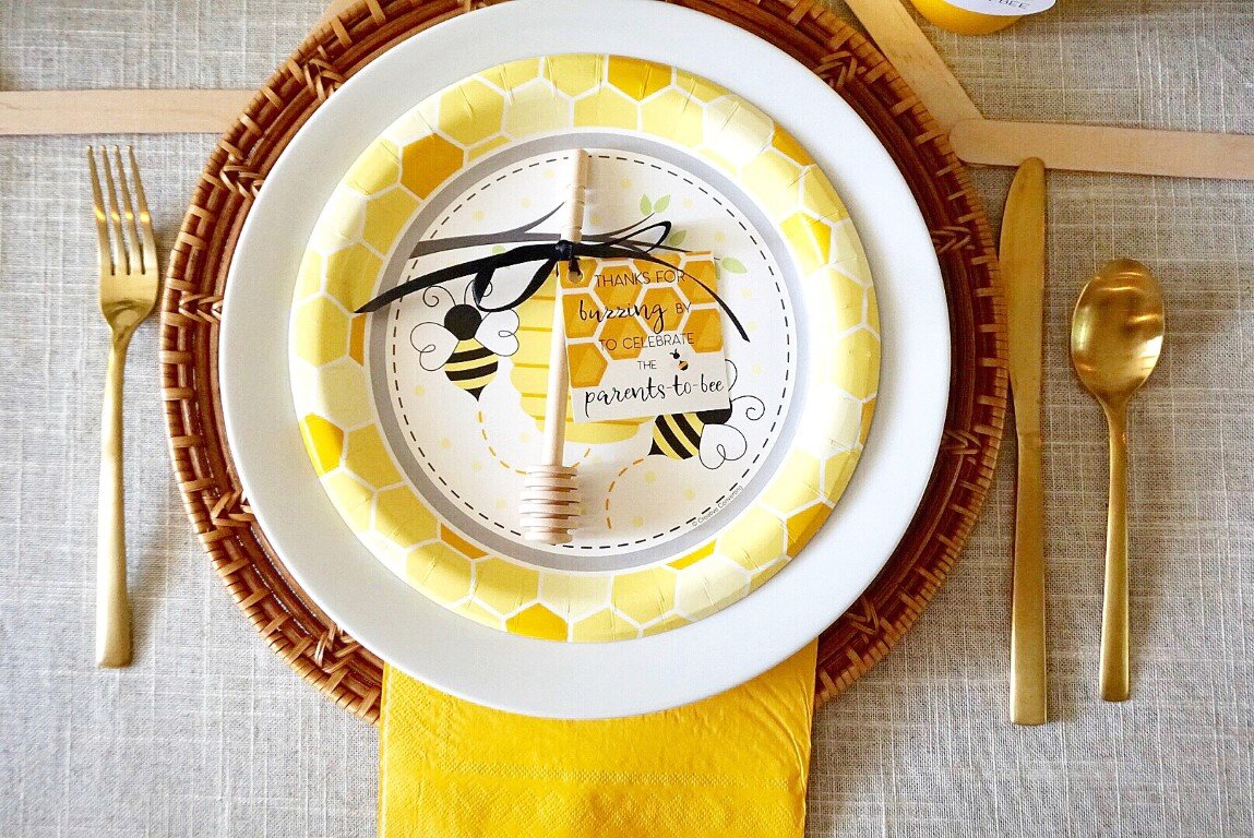 Bee baby shower plates