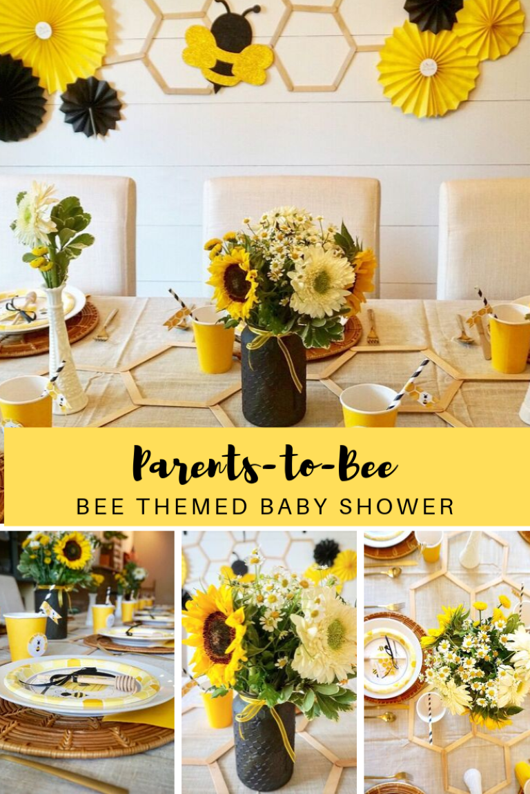 Celebrate the parents-to-bee with this bee themed baby shower. Click here for easy DIY tutorials, bee decoration and party supply ideas, and an inexpensive bee themed favor! #babyshower #babyshowertheme #beethemedshower #beebabyshower #babyshowerideas #babyshowerdecor