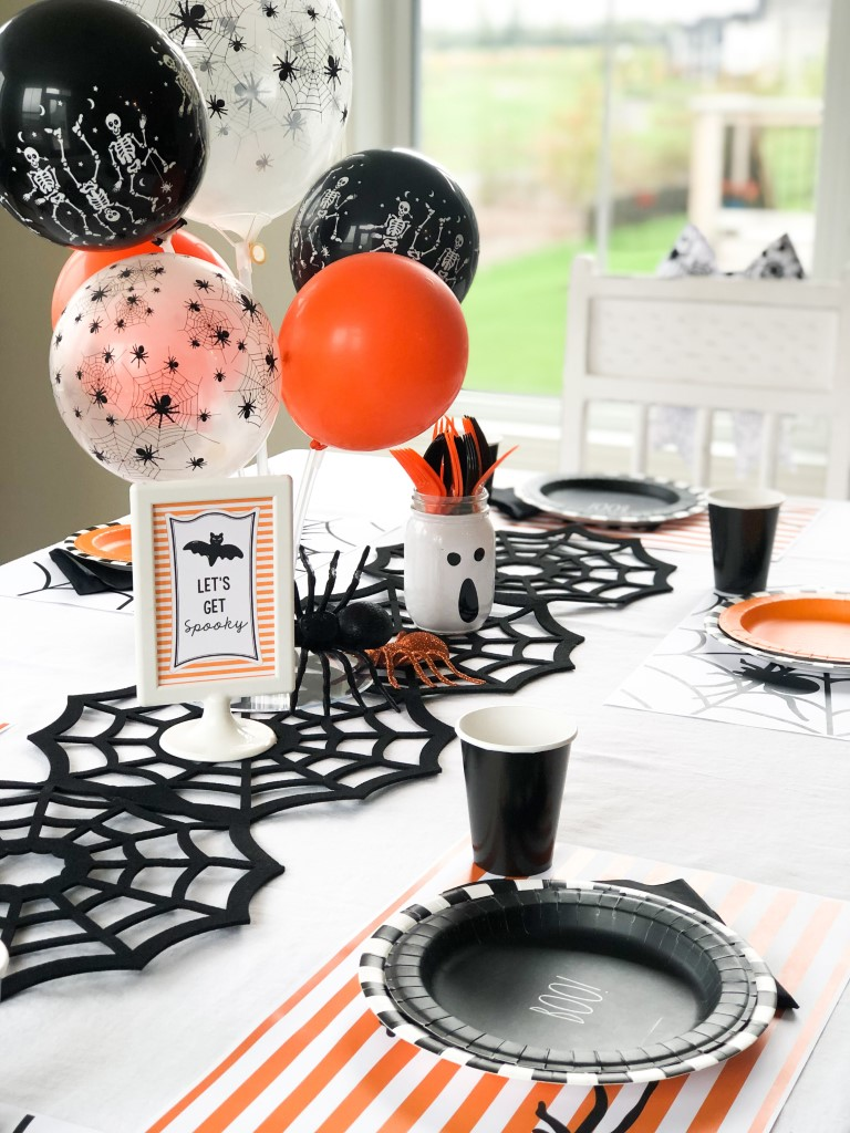 Silly spider kids halloween party table