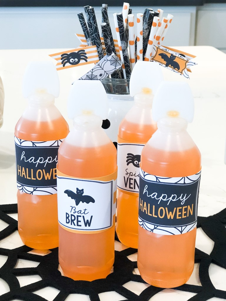 Halloween drink printables for juice bottles