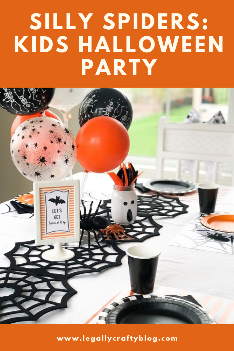 Throw a fun spider-themed Halloween party for kids with these easy ideas and free Halloween printables! #kidshalloweenparty #halloweenparty #halloweenpartyideas