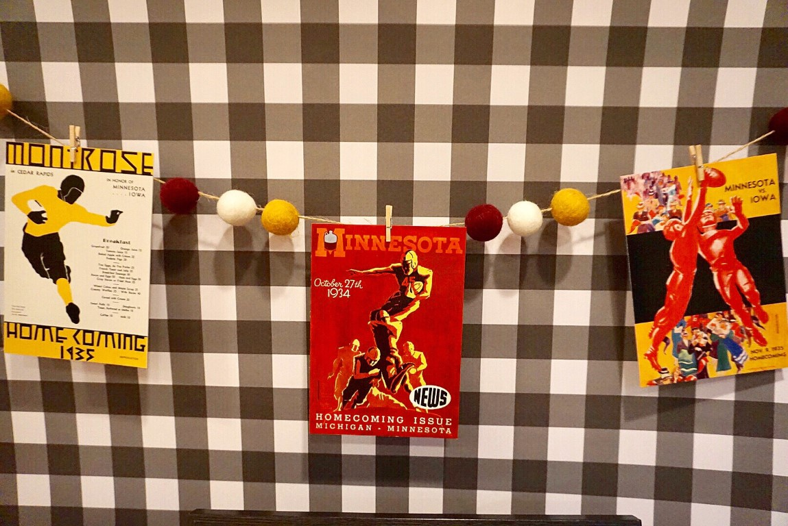 Wool felt ball garland with vintage football banner