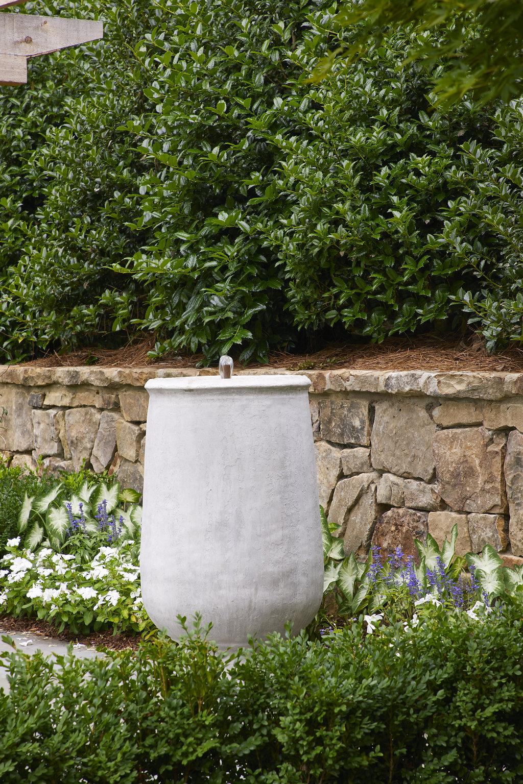 Custom planter in the garden.