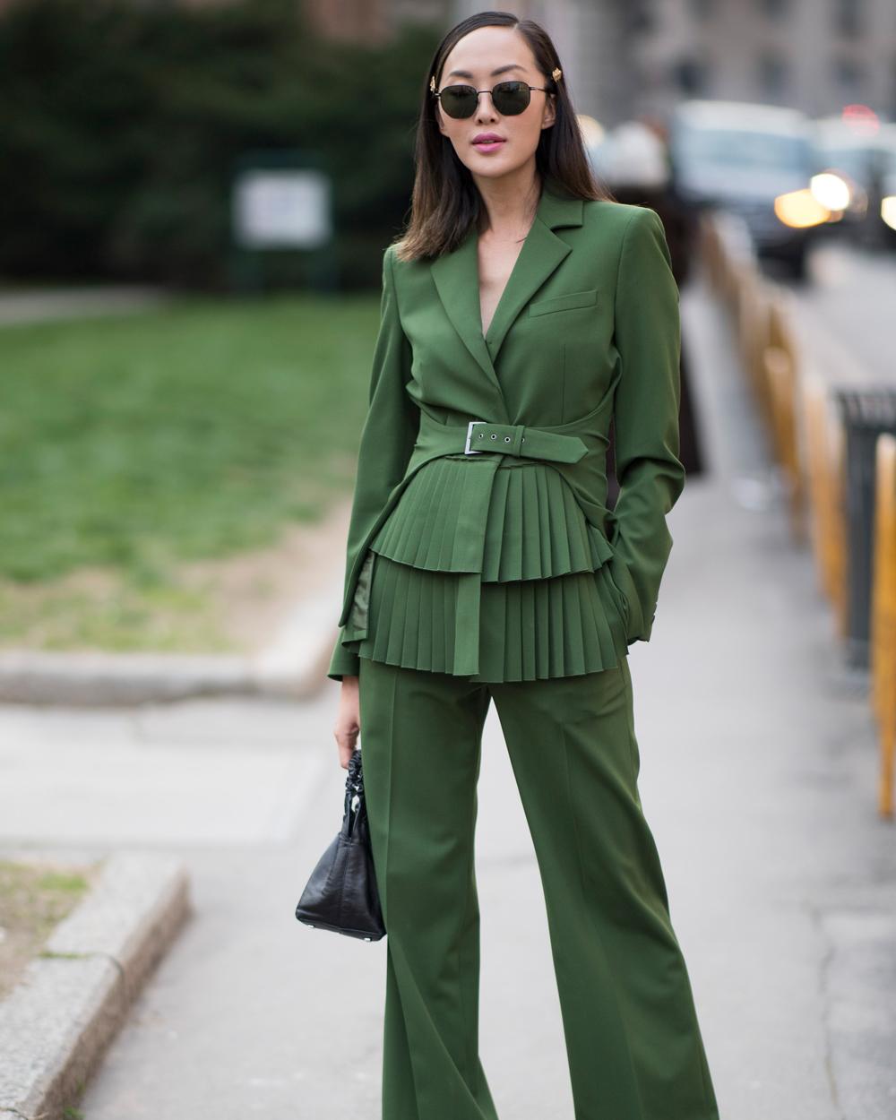 chriselle green pant suit