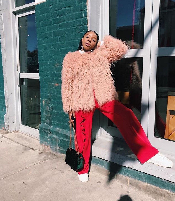 whoskerryann toronto black blogger pink fur high fashion