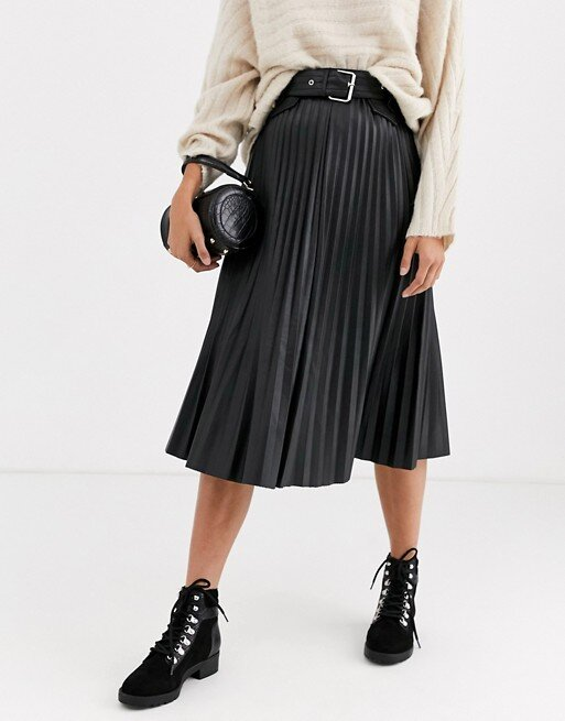 River Island  Leather Pleated Skirt ($95.00)