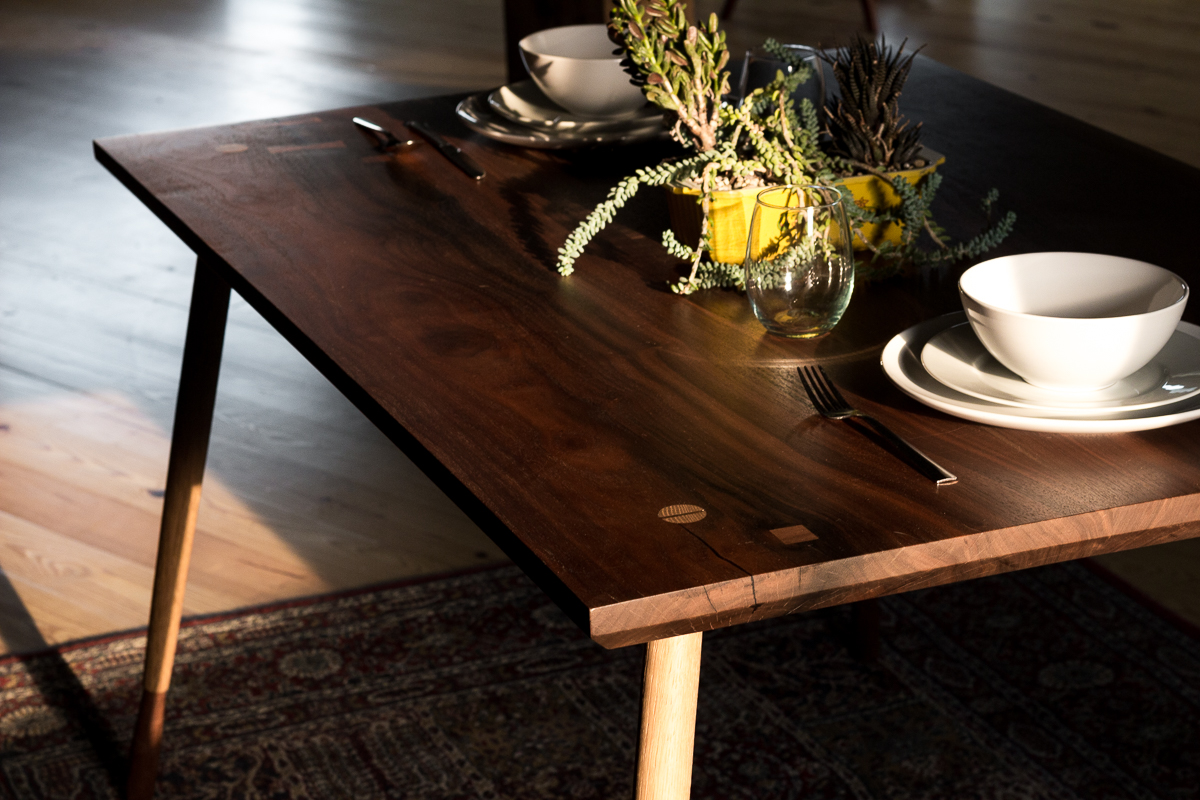 The Morrison Table - Black walnut slab on oak and walnut legs