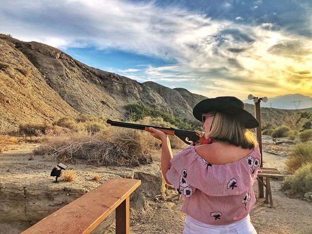 You'll shout your eye out, kid! 🔫  When in Palm Springs, I went to a ranch where I got to shoot a Red Ryder BB gun. I wouldn't say I'm a natural, but it was fun!  #satwgps #greaterpalmsprings