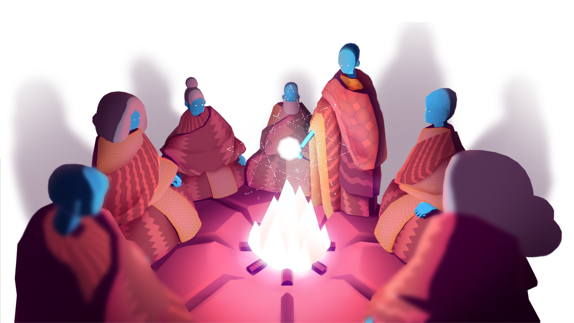 cloaked figures around a glowing camp fire