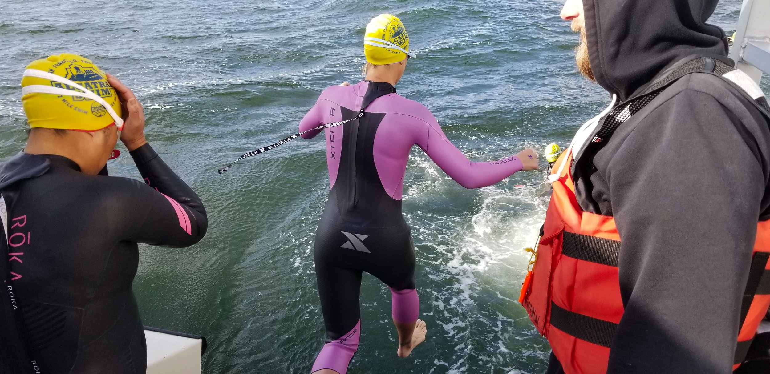 Jumping in Alcatraz Odyssey Swim