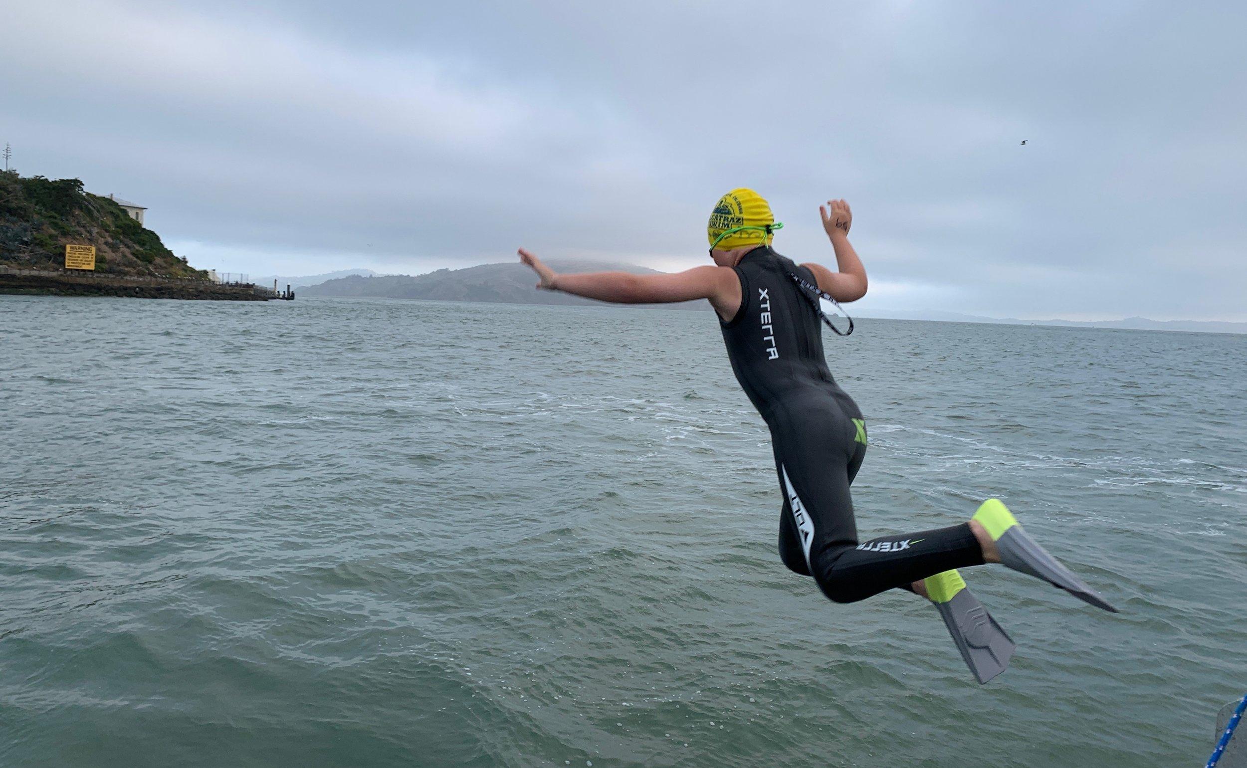 Ryan Jumping in Alcatraz Swim