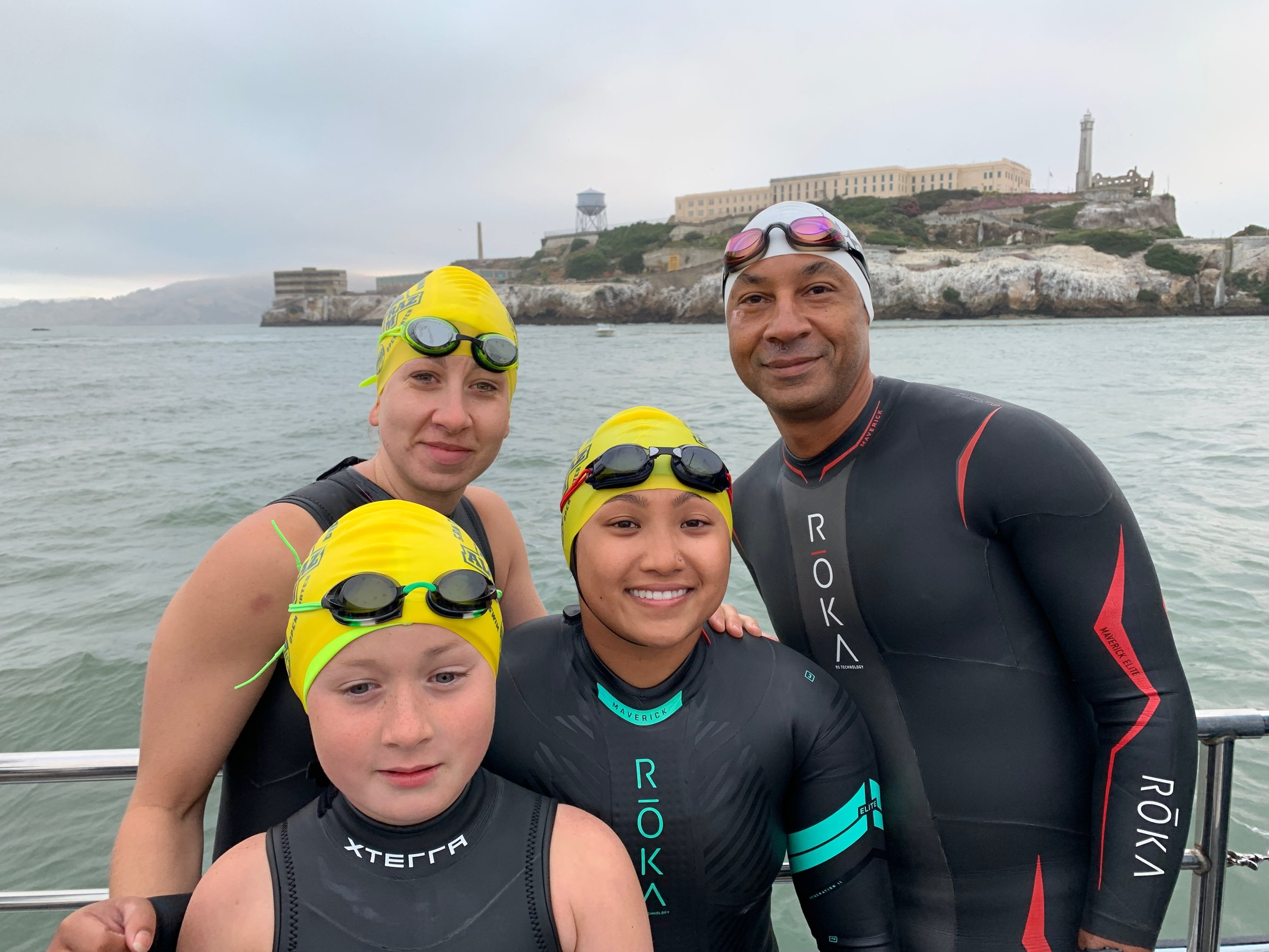 Before Jumping in Alcatraz Odyssey Swim
