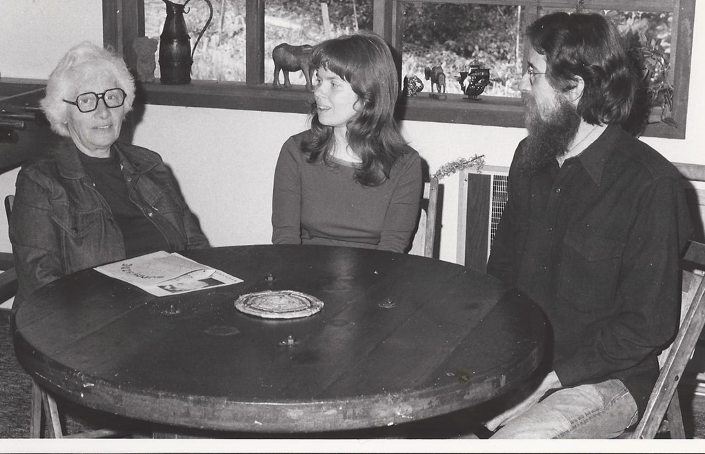 """Malvina Reynolds became a friend and mentor...she encouraged me to """"put an edge on it"""". Here we are with Larry Hanks."""