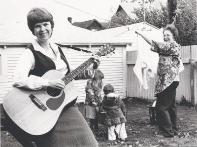 """I toured throughout the State with the Washington Women's Heritage Project, singing traditional and contemporary songs about """"Women, Working and Caring"""". Here I am in a promo shoot with daughters Jen and Kristin and Grandma Fran Zito."""