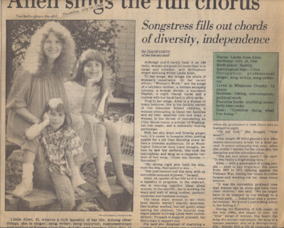 Here's a news article from this time, with Jen and Kristin. They sometimes travelled with me around Washington as I collected songs and presented concerts.
