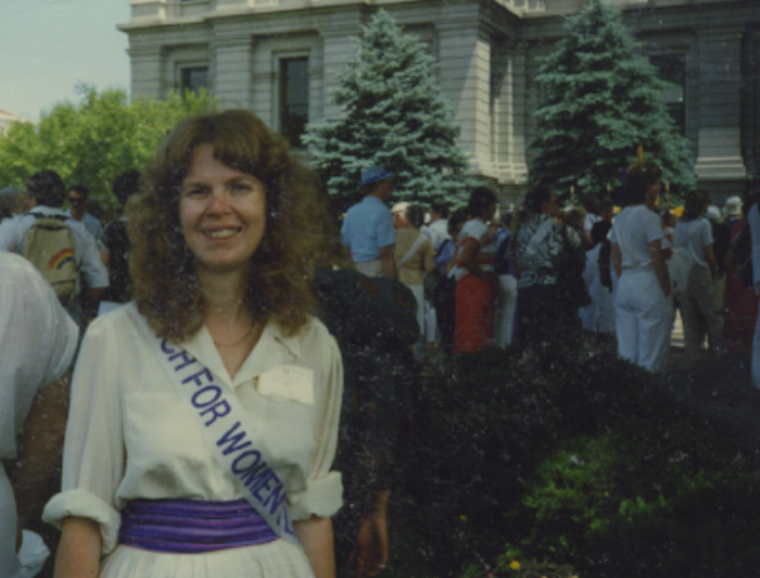 Marching for the ERA in Denver, about 1986. I was in Denver to sing for the National NOW Conference.