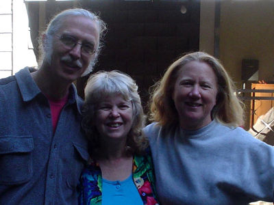 """With Peter Alsop and Holly Near at """"A Gathering of Artists"""" on Peter's land in Northern California."""