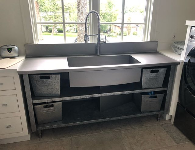 So we took this sad, old cafeteria cabinet and we SUNK it!...?....we SANK it?.....we SINKED it?......we SANKED it?....We put a sink it. Anywho, fully #tig #welded and smoothed by hand. #steelhard #stainlessispainless #stainlesssteel