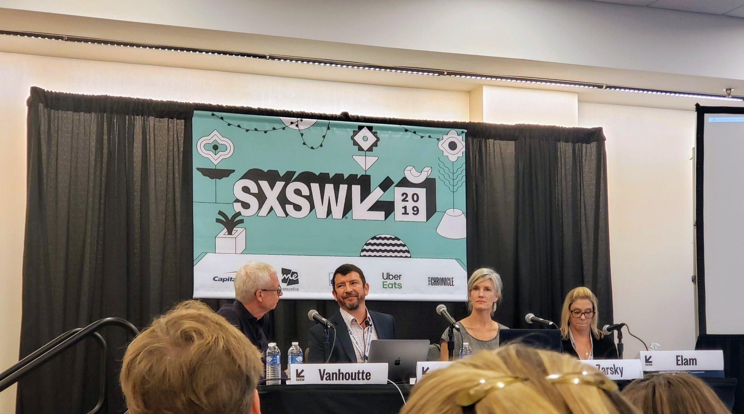 Philip moderating Nature at Work panel at SXSW 2019 with Rolando Balli, Kathy Zarsky and Liz Elam