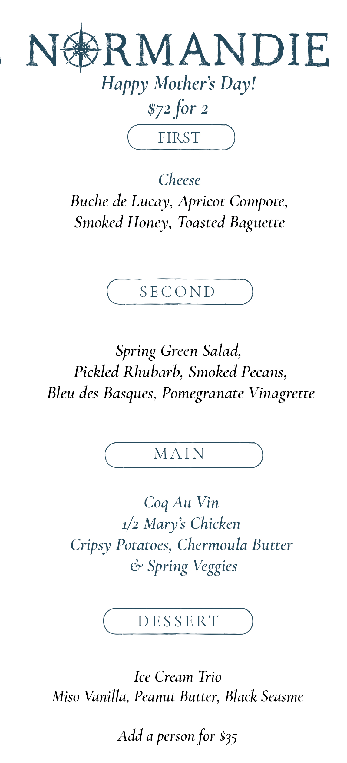 Treat Your Mom and Yourself With Our Four-Course Family Style Prix Fixe - Click here to bookOr by callingat (503) 233-4129