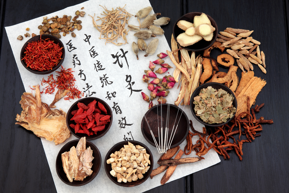 chinese herbs for chinese medicine on chinese parchment paper