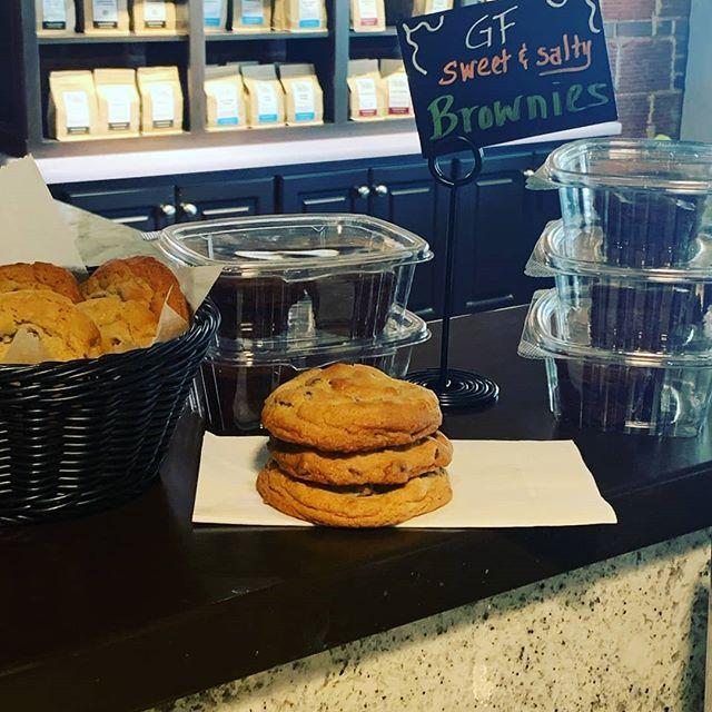 Fresh baked chocolate chip cookies and GF brownie bites available now.  West End Coffee Shoppe.