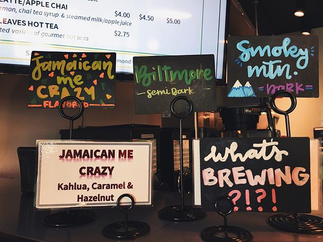 Brews of the day: Jamaican me crazy 😜 (flavored), Biltmore (medium roast) & Smoky Mountain (dark roast) ☕️😋 #brewoftheday #dripcoffee #greenville #southmainstreet #supportlocalbusiness