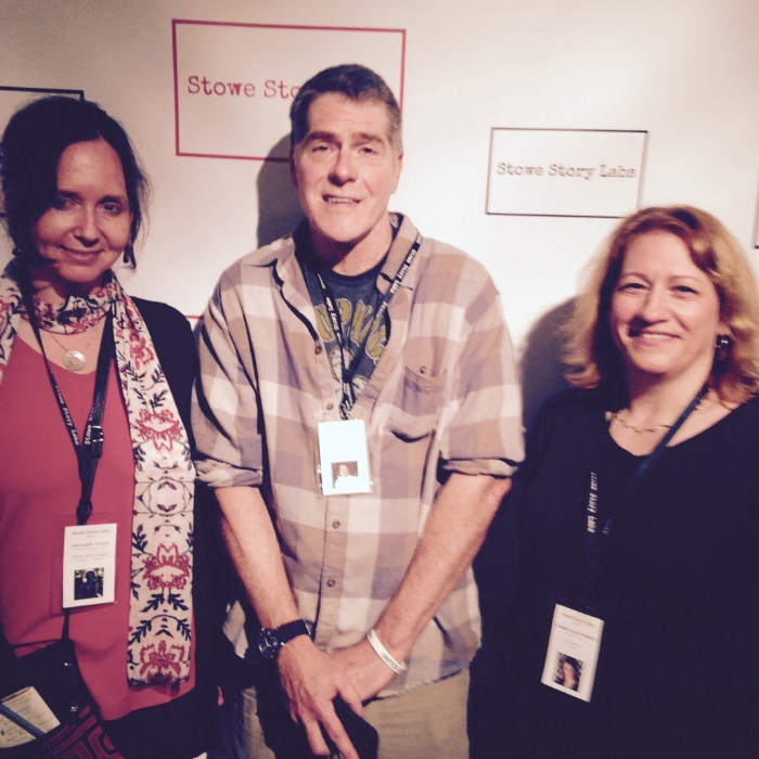 The scientist/writers at Stowe Story Labs 2015. From left, Carylanna Taylor (anthropologist), Matt Minson (physician), and Diandra Leslie-Pelecky (physicist). I'm not sure if the blur is the low light or the Heady Toppers.