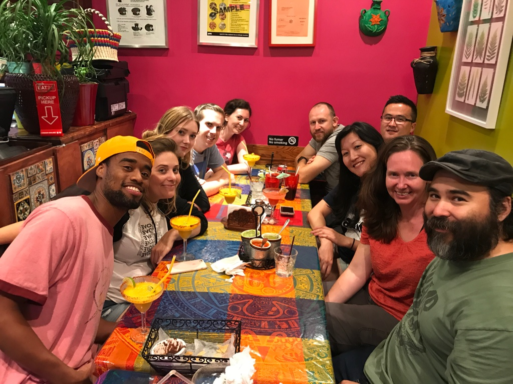 Crew wrap party at Juquila Mexican Restaurant in Jackson Heights, Queens. From left: Gerard Pickett (Stills Photography, PA), Ashley Sather (Production Coordinator), Erin Willers (Wardrobe Supervisor), Nick Carignan (Sound Mixer), Andrea Lessard (PA), Tyler Young (2nd AD), Richard Dalton (1st AD), Jen Kim (Key PA), Carylanna Taylor (Writer/Producer/Director), and Jacob Okada (Writer/Director/DP/Producer).